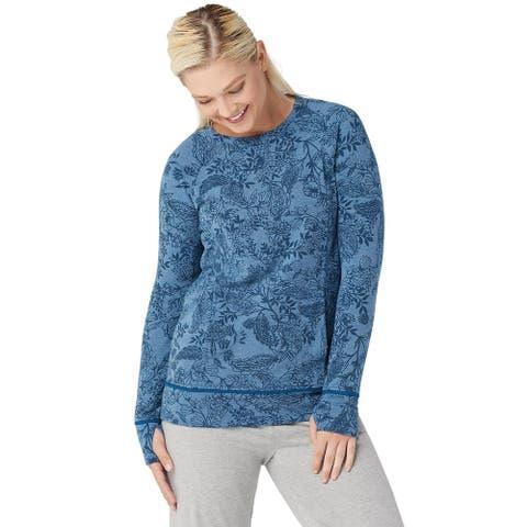 Cuddl Duds Womens Comfortwear Raglan Sleeve Top Plus 1X Blue Paisley A368068