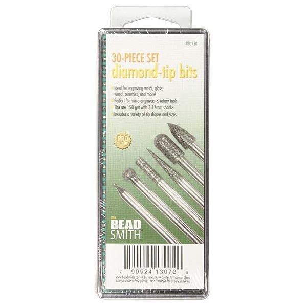 BeadSmith 30-Piece Diamond-Tip Drill Bits For Engraving - 150 Grit/3.17mm Shanks