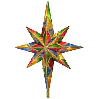 """11"""" Lighted Mosaic Glitter Bethlehem Star Christmas Tree Topper - Clear Lights"""