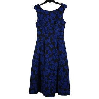 Betsey Johnson Rose Knit Jacquard Tea Length Dress Black Blue 6