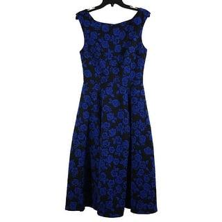13b03e1ea60 Betsey Johnson Rose Knit Jacquard Tea Length Dress Black Blue 6