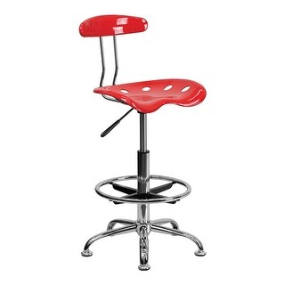 Offex Vibrant Cherry Tomato and Chrome Drafting Stool with Tractor Seat [OF-LF-215-CHERRYTOMATO-GG]