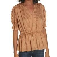 Lewit Brown Women's Size XL Peplum V-Neck Ruffle Trim Blouse
