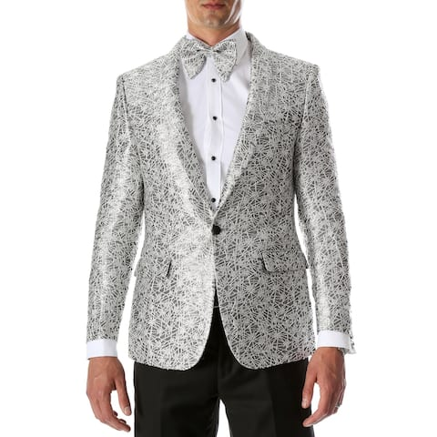 Mens RENE Silver Premium Abstract Pattern Slim Fit Tuxedo Blazer