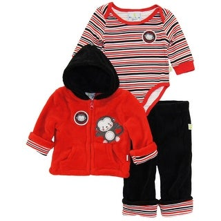 Duck Goose Baby Boys Wild Little Monkey Sherpa Jacket Bodysuit 3Pc Pant Set