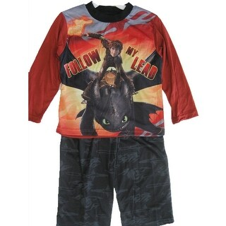 How To Train Your Dragon Little Boys Black Printed 2 Pc Pajama Set 4-6