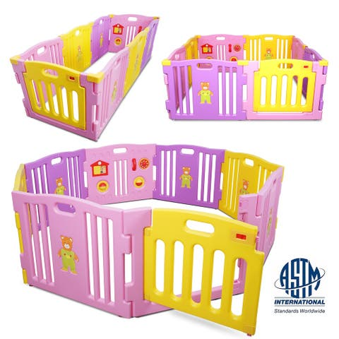 Kidzone Kids Play Center Playpen 8Pcs Safety Gate ASTM Certified Pink - standard