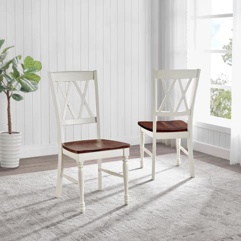"""Shelby Cherry/Antique White Wood Dining Chair (Set of 2) - 17.75 """"W x 23.5 """"D x 39 """"H"""