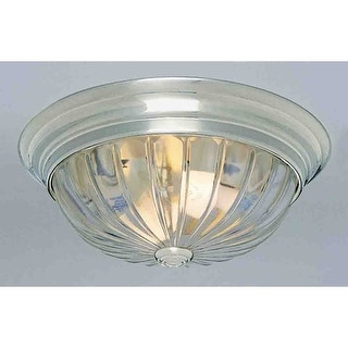 "Volume Lighting V7810 1 Light 11"" Flush Mount Ceiling Fixture with Clear Melon Ribbed Glass Shade"