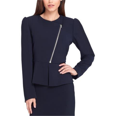 Tahari Womens Zip Front Blazer Jacket, blue, 10