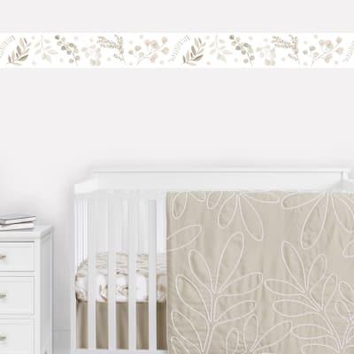 Boho Botanical Leaf Wallpaper Wall Border - Neutral Ivory Cream Beige Tan Off White Taupe Woodland Farmhouse Floral Bohemian