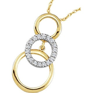 Three Circle Pendant 10K Yellow-gold With Diamonds 0.16 Ctw By MidwestJewellery - White