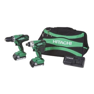 Hitachi 18V Lithium Ion CORDLESS DRILL + IMPACT DRIVER Combo KIT, KC18DGL - Black