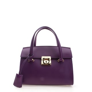 Salvatore Ferragamo Ginny Leather Tote Handbag - Purple - S