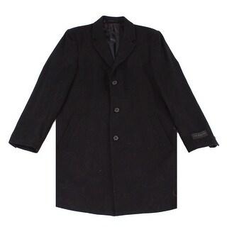 IKE BEHAR NEW Black Mens Size 40R Three Button Wool Blends Coat