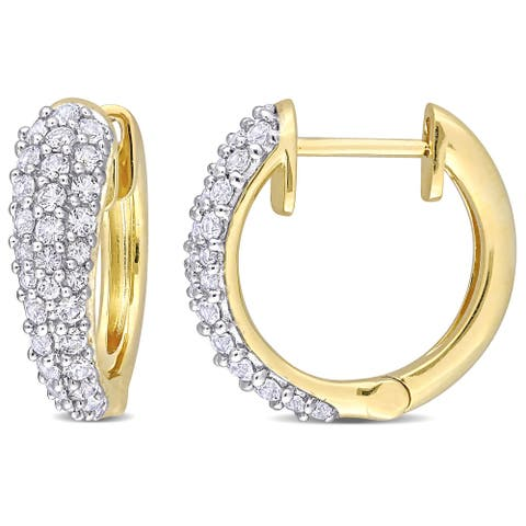 Miadora 10k Yellow Gold White Sapphire Multi-Row Cluster Hoop Earrings - 17.1 mm x 5.2 mm x 17.9 mm - 17.1 mm x 5.2 mm x 17.9 mm