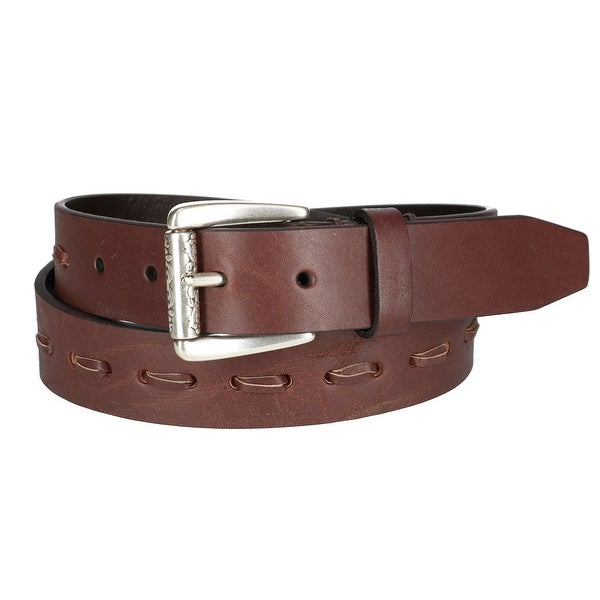 Danbury Women's Leather Belt with Lacing and Roller Buckle