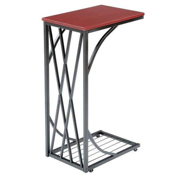 Sofa Side End Table - Metal Sides in Chrome or Black with Black or Walnut Top - C-Shaped Slides Up To Sofa Chair Recliner