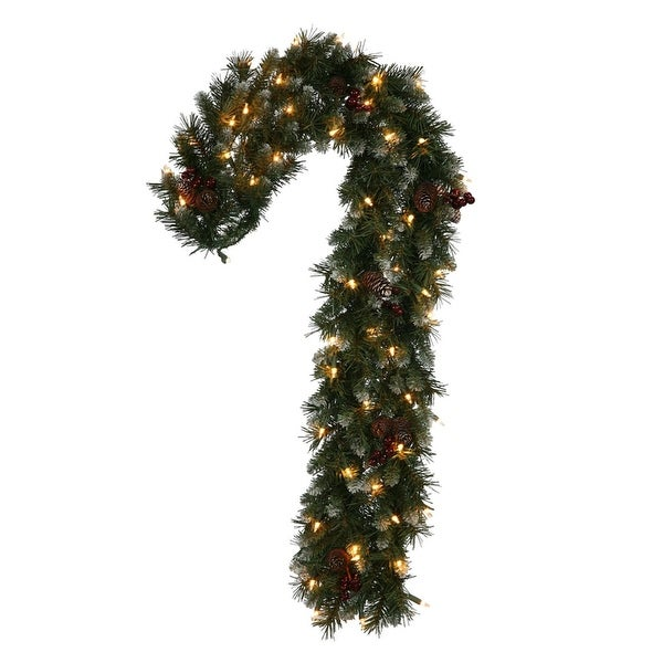 """40"""" Pre-Lit Frosted Ashberry Pine Artificial Candy Cane Christmas Decoration - Clear Lights - green"""