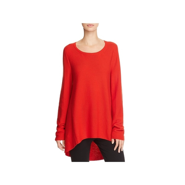 2668d380be4617 Shop Eileen Fisher Womens Petites Tunic Sweater High Low Round Neck ...