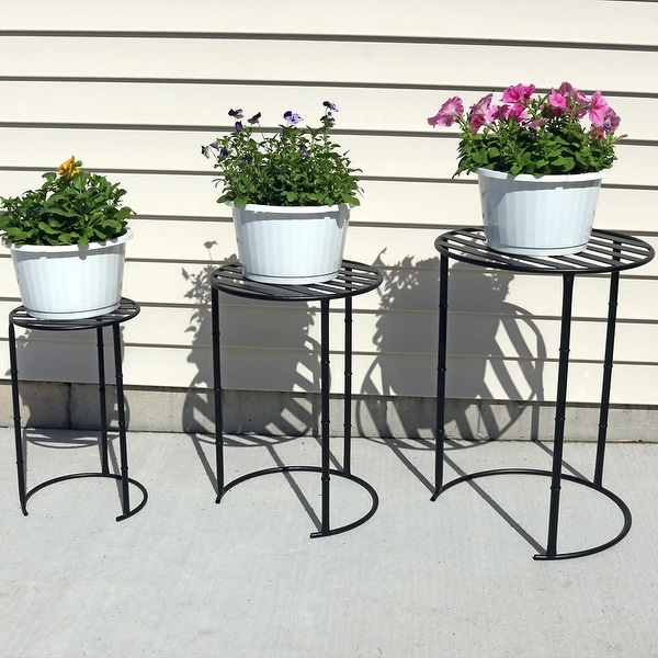 Sunnydaze Set of 3 Modern Indoor Outdoor Nesting Plant Stands - Assorted Sizes