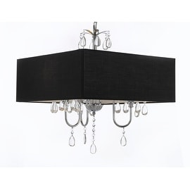 Modern Contemporary Crystal Chandelier With Large Black Shade