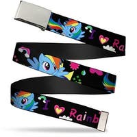 "Blank Chrome Buckle I ""Heart"" Rainbow Dash Black Pinks Webbing Web Belt"