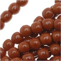 Czech Glass Druk Round Beads 4mm Umber Brown (100)
