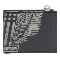 "Harley-Davidson Men's #1 Winger Bi-Fold Genuine Leather Wallet HDMWA11055-BLK - 4.5"" x 3.5"""
