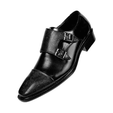 Bolano Mens Smooth Leather Double Monk Strap Dress Shoe Embossed Strap