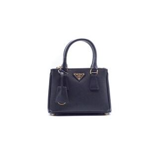 Prada Mini Saffiano Leather Double-Zip Tote Black & gold hardware - small
