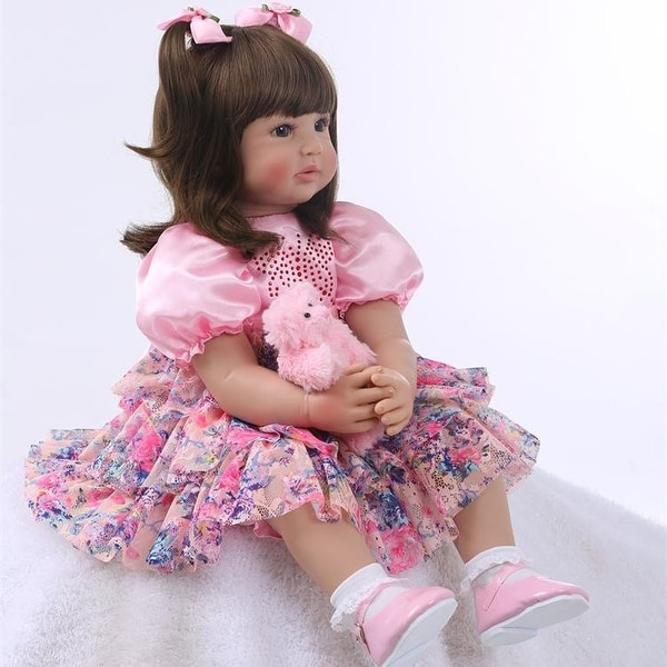 """24"""" Beautiful Simulation Baby Golden Curly Girl Wearing Print Skirt Doll - 22"""". Opens flyout."""