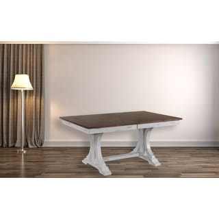 """Link to Rectangle Dining Table 42""""x64""""x82"""" Double Pedestal Deco Distressed Cocoa Brown/ Cotton White - N/A Similar Items in Dining Room & Bar Furniture"""
