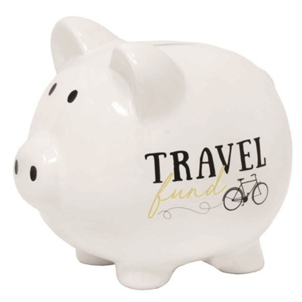 """5.75"""" Ivory and Black Classic Style Quote Printed Piggy Bank - N/A"""