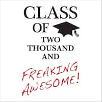 "Club Pack of 192 Tassel Talk 2-Ply ""Class of Two Thousand and Freaking Awesome!"" Beverage Napkins 5"" - Black"