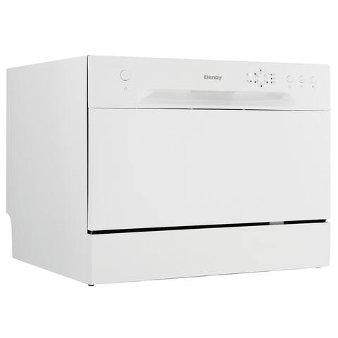 """Danby DDW621 22"""" Wide 6 Place Setting Energy Star Countertop Full Console Dishwasher with LED Display - - White"""