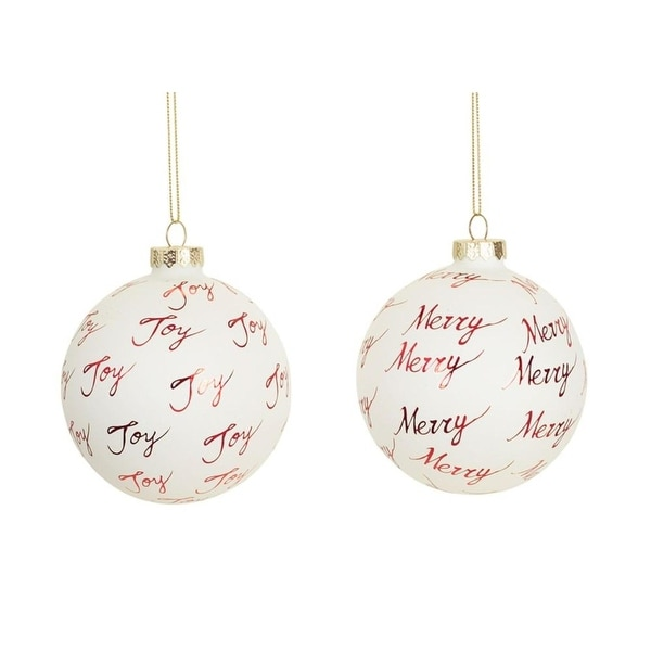 "Set of 6 White and Red ""Joy"" and ""Merry"" Glass Christmas Ornaments 3.25"""