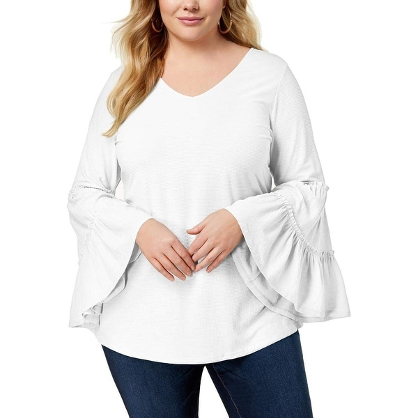 NY Collection White Women's Size 2X Plus Bell Sleeve Texture Blouse