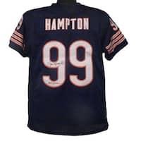 Dan Hampton Autographed Chicago Bears Size XL Blue Jersey JSA