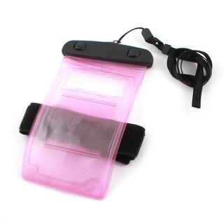 Unique Bargains Clear Pink Beach Rain Protection Cellphone Bag Pouch Cover w Arm Band Neck Strap