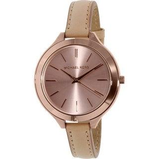 Michael Kors Women's Runway MK2274 Brown Leather Quartz Fashion Watch (Option: Analog)