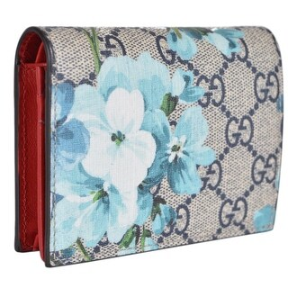 "Gucci 410088 GG Blooms Supreme Coated Canvas Card Case Wallet - 4.4"" x 3.25"""