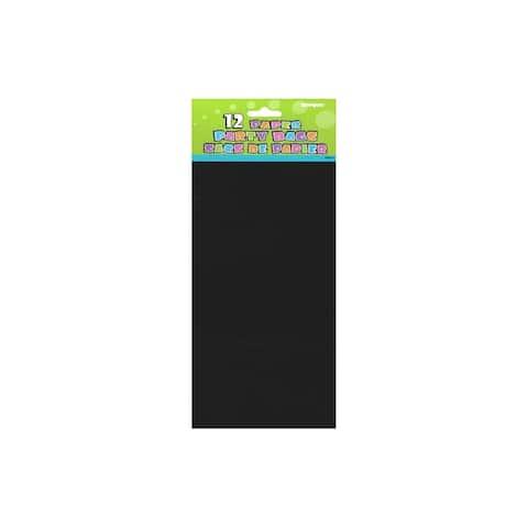 """Unique Paper Party Bag 10x5"""" Black 12pc"""