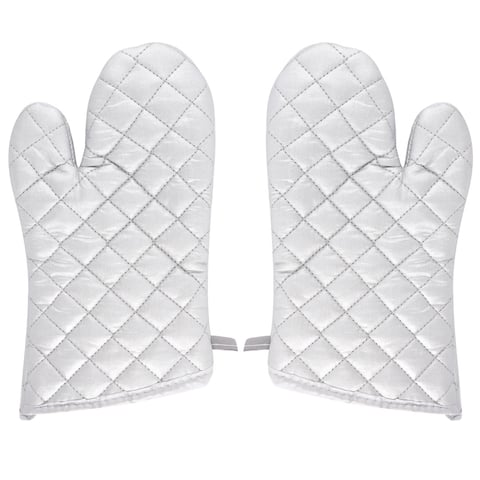 Kitchen Bakery Heat Resistance Baking Insulated Oven Gloves Pair Silver White