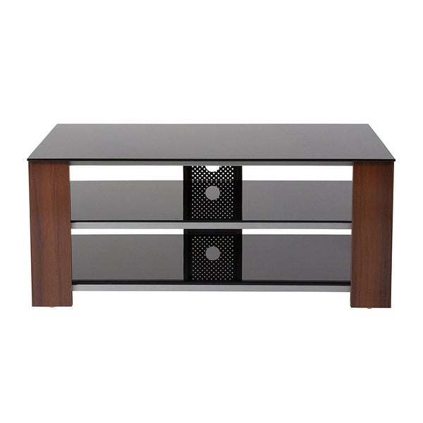 Shop Offex Montgomery Black Tv Stand With Glass Shelves Steel