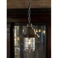 "Hanging Rustic Looking Flared Caged Foyer Pendant Light Fixture 44"" - Brown"