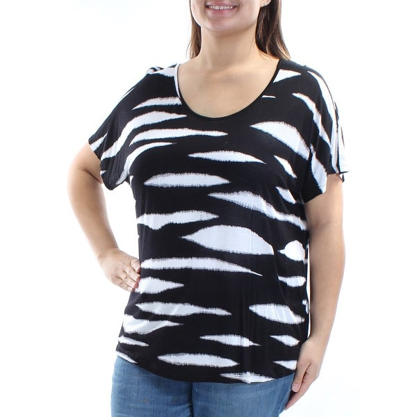 c4d3a40080ae Womens Black White Animal Print Short Sleeve Jewel Neck Casual Top Size XXL