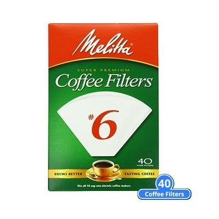 Melitta 626402 6-Cone Coffee Filters w/ Brews Rich & Flavorful Coffee for 8-12 Cup Cone Coffeemakers