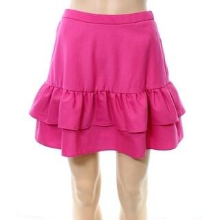 J. Crew Deep Pink Womens Size 4P Petite Ruffled-Hem A-Line Skirt