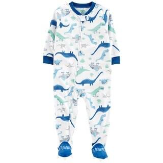 Carter's Baby Boys' 1-Piece Dinosaur Fleece PJs, Blue Dino